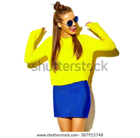 portrait of cheerful fashion...