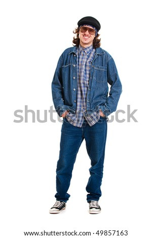 portrait of cheerful guy in jeans. isolated on white