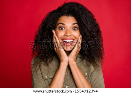 Portrait of cheerful positive cute nice pretty sweet charming girlfriend seeing sales started smiling toothily cheerfully having fun isolated vibrant color background