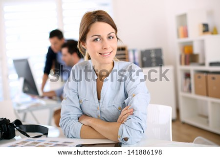 Portrait of cheerful student in communication
