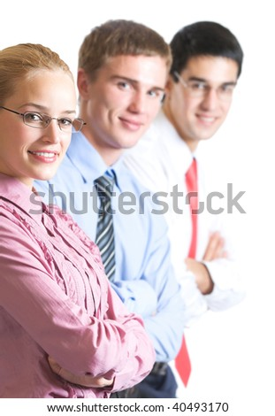 Portrait of cheerful successful business team, isolated
