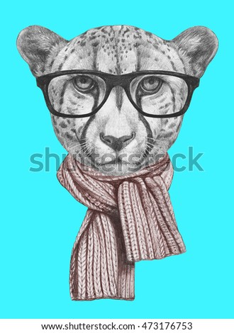 a025270a4d2c5 Portrait of Cheetah with glasses and scarf. Hand-drawn illustration.   473176753