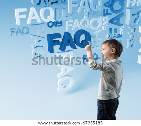 portrait of child and 3d faq background