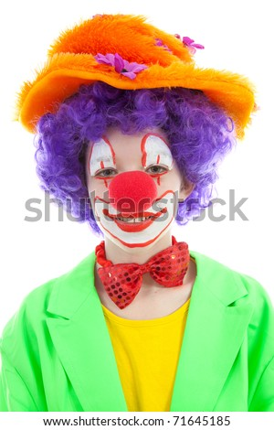 portrait of child dressed as colorful funny clown with balloons over white background