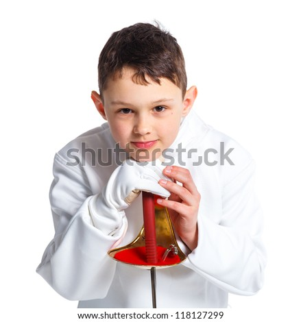 Portrait of child epee fencing lunge. Isolated on white background.
