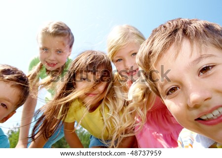 Portrait of children having fun in the open air