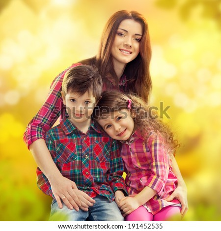 Portrait of children with her mother. Spring, March 8, International Womens, Mothers day, holiday, happy family