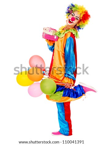Portrait of clown with balloon and gift box. Isolated.