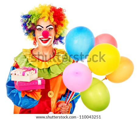 Portrait of clown with balloon. Isolated.