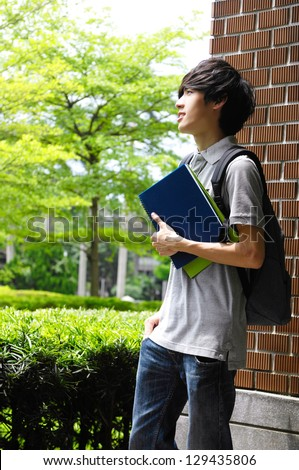 Portrait of college student at his university