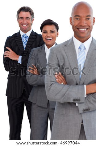 Portrait of confident business team against a white background