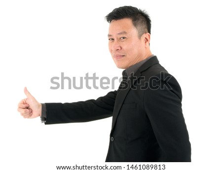 Portrait of confident businessman present confidence and success by showing thumb, isolated on white background