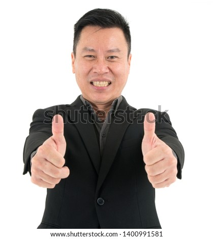 Portrait of confident businessman present confidence and success by showing two thumbs, isolated on white background