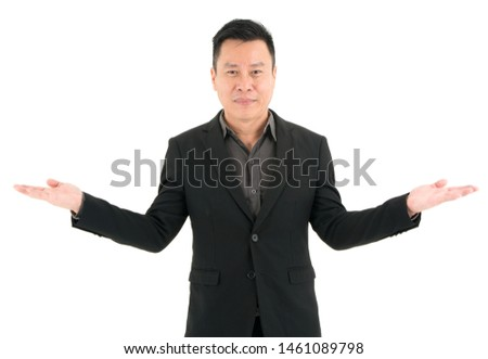 Portrait of confident businessman present confidence and success, isolated on white background