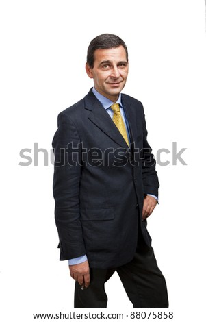 Portrait of confident businessman smoking a cigar, white background