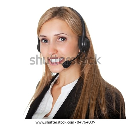 Portrait of confident call center representative