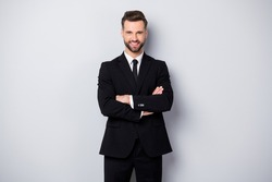 Portrait of confident cool man worker feel like he big company owner cross hands wear formalwear outfit isolated over grey color background