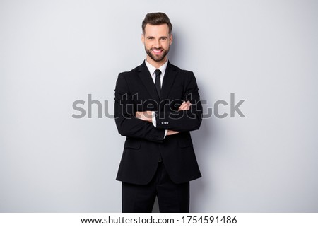 Portrait of confident cool man worker feel like he big company owner cross hands wear formalwear outfit isolated over grey color background Foto stock ©