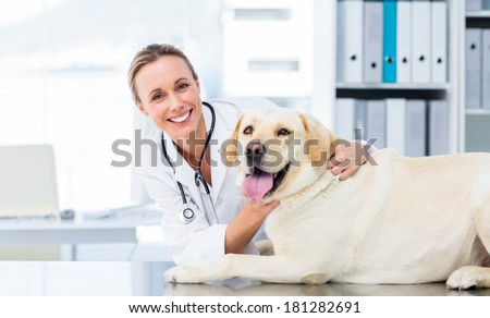 Portrait of confident female veterinarian examining dog in hospital