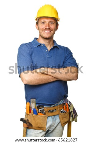 portrait of confident handyman crossed arms isolated on white - stock photo