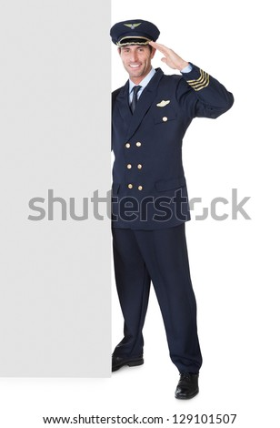 Portrait of confident pilot Isolated on white