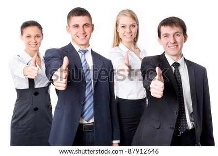 Portrait of confident young business people with thumbs up sign