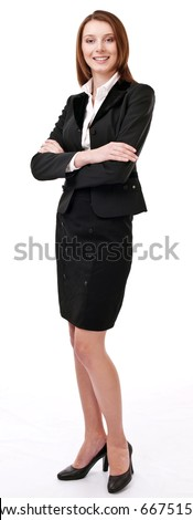 Portrait of confident young business woman. Isolated on a white background.