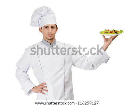Portrait of cook with salad on the plate, isolated on white