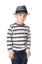 Portrait of cool pretty stylish little boy isolated on white background