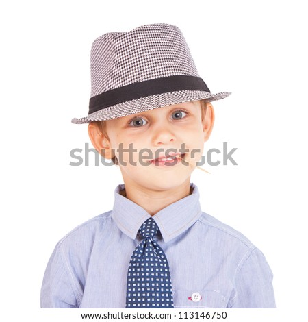 Portrait of cool pretty stylish little boy with toothpick. Isolated on white background. Clipping paths included.