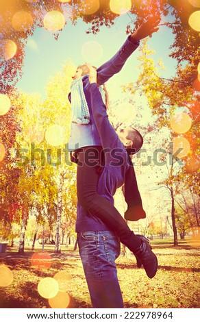 Portrait of couple have fun  autumn fall season #222978964