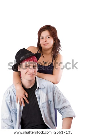 Portrait of Couple holding together isolated on white