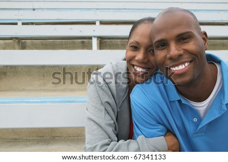 Portrait of couple hugging