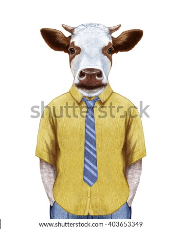 portrait of cow in summer shirt ...
