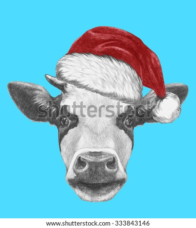 Stock Photo Portrait of Cow with Santa Hat and sunglasses. Hand drawn illustration.