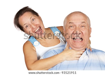 Portrait of crazy couple isolated on white - stock photo
