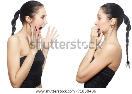 portrait of crying girl to herself scared isolated on white