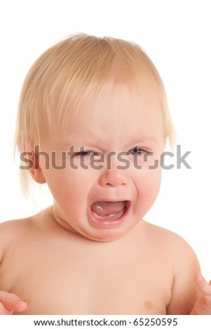 Portrait of crying young sitting baby