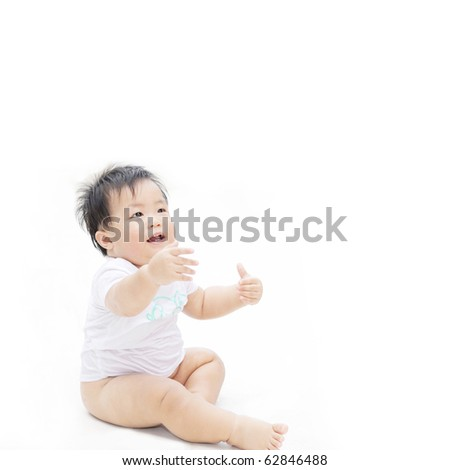 Portrait of cute baby looking for hug, isolated - stock photo