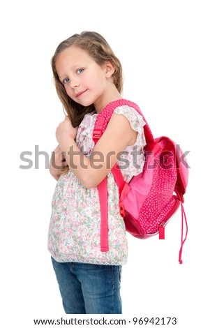 Portrait of cute blond girl with school bag. Isolated on white.