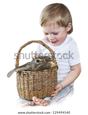 Portrait of Cute Boy with Rabbit in a Basket hare