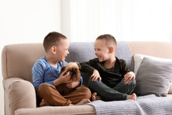 Portrait of cute boys with funny Brussels Griffon dog at home. Loyal friends