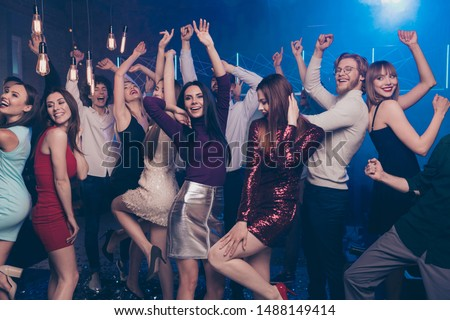 Portrait of cute charming nice sweet youth discotheque have move crazy positive cheerful formal wear formalwear dress high-heels indoors