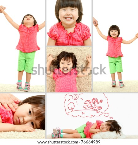 Portrait of cute child in different situations
