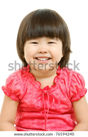 Portrait of cute child laughing in isolation