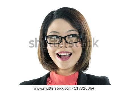 Portrait of Cute Chinese business woman wearing glasses, looking up into the corner. Isolated on white background.