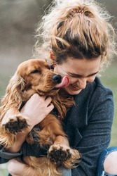 Portrait of cute cocker spaniel on hands of attractive happy smiling young curly woman. Love between dog and humanб