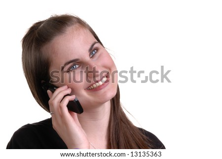 portrait of cute girl talking on telephone, isolated on white