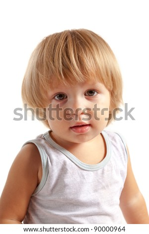 Portrait of cute little boy, isolated on white background