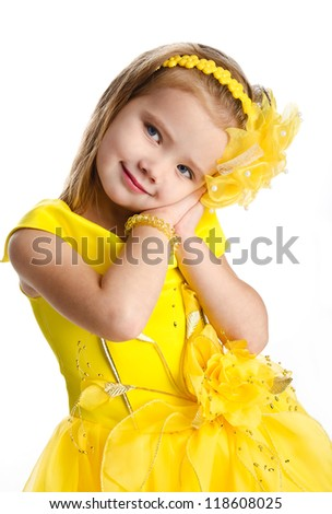 Portrait of cute little girl in princess dress isolated
